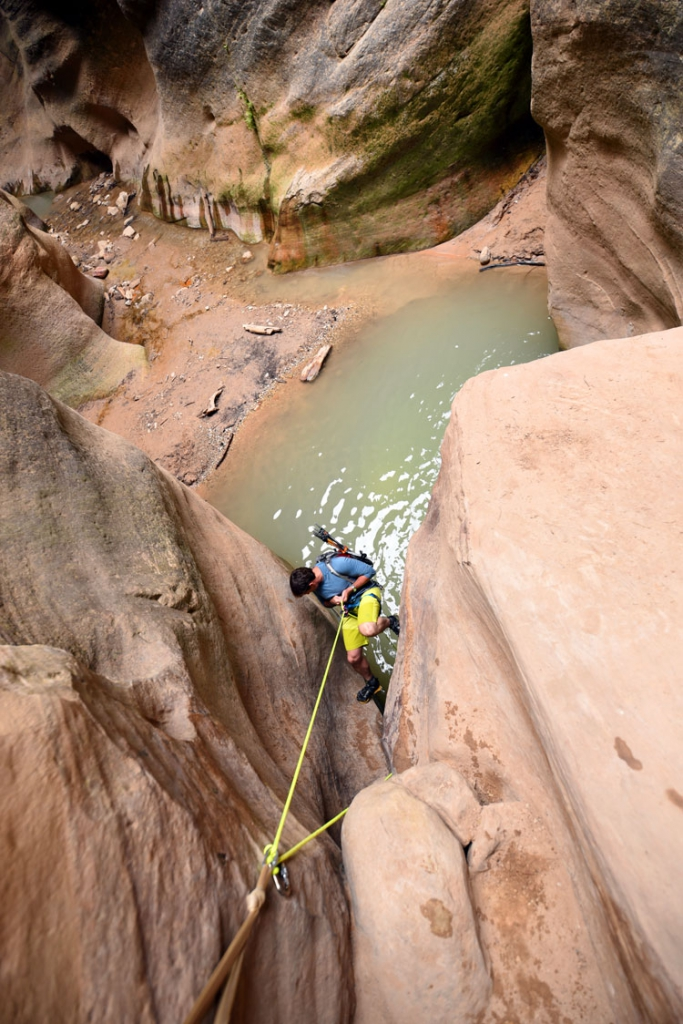 Rappelling in Slot Canyon Arizona