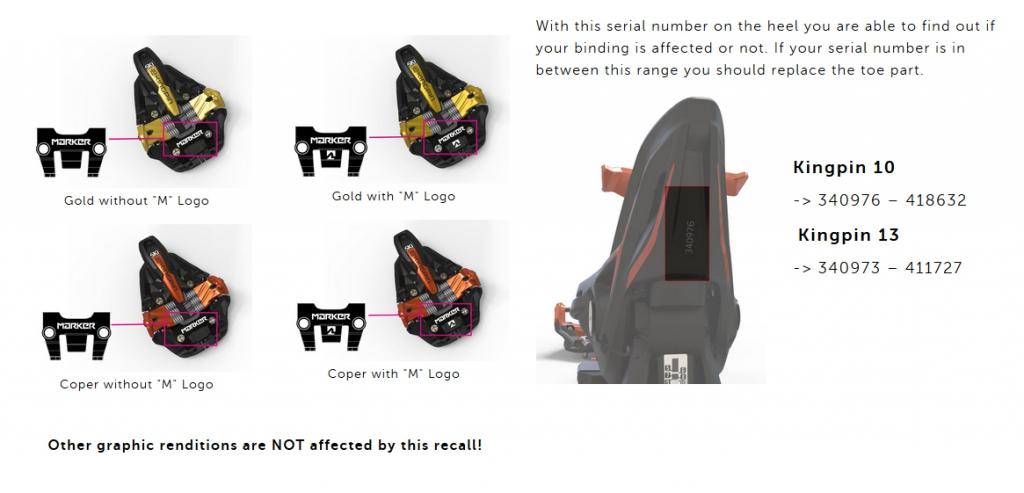 Marker Kingpin Toe Piece Volunteer Safety Recall - VPO 6fa56cc927