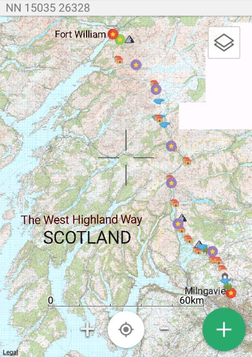 Map of the West Highland Thru Hike