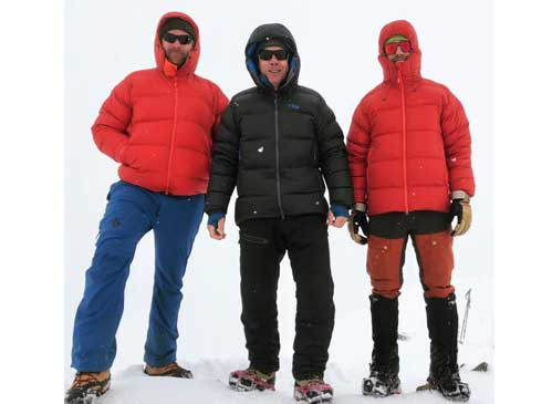 Clothing layers for winter hikers.