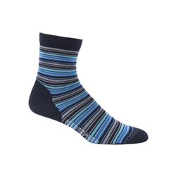 Icebreaker LifeStyle 3/4 Crew Socks - Stripe-Tease - Ultralight Cushion - Womens-Admiral / Pelorus / Glacier