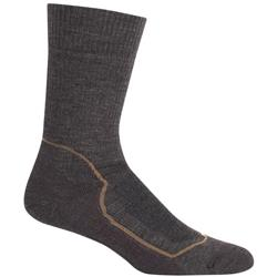 Icebreaker Hike+ Crew Socks - Heavy Cushion - Mens-Earthen Heather / Bark / Dark Straw