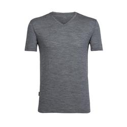 Icebreaker Tech Lite SS V-Neck - Mens-Gritstone Heather