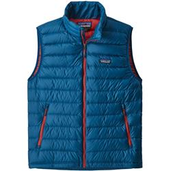 Patagonia Down Sweater Vest - Mens-Big Sur Blue w/Fire Red