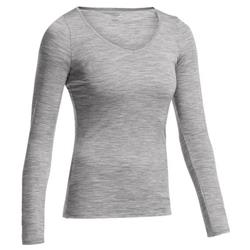 Icebreaker Siren LS Sweetheart - Bodyfit 150 Ultralite - Womens-Metro Heather