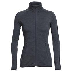 Icebreaker Atom LS Zip - Womens-Jet Heather / Black / Jet Heather