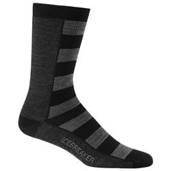 Icebreaker Lifestyle Crew Socks - Ultralight Cushion - Bisect - Mens-Black / Jet Heather / Fossil