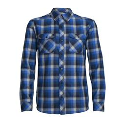 Icebreaker Lodge LS Flannel Shirt - Mens-Largo / Midnight Navy / Plaid