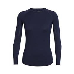 Icebreaker Zone LS Crewe - Womens-Midnight Navy / Largo