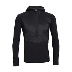 Icebreaker Ellipse LS Half Zip Hood - Mens-Black / Metal