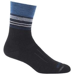 Icebreaker Hike Crew Socks - Medium Cushion - Stripe - Mens-Black / Equinox Heather / Twister Heather