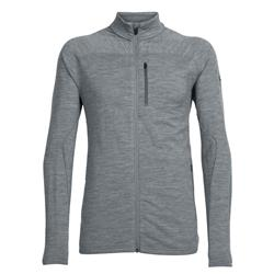 Icebreaker Mt Elliot LS Zip - Mens-Gritstone Heather / Gritstone Heather / Black