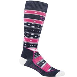 Icebreaker Ski+ OTC Socks - Ultralight Cushion,  Icon Fairisle- Womens-Admiral / Pop Pink / Snow