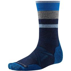 Smartwool PhD Outdoor Medium Pattern Crew Socks - Mens-Deep Navy / Medium Gray