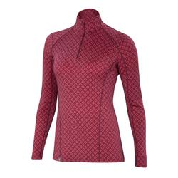 Ibex Woolies 2 Zip T-Neck - Womens-Lattice / Winter Cherry