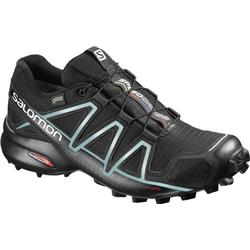 Salomon Speedcross 4 GTX - Black / Black / Metallic Bubble Blue - Womens-Not Applicable