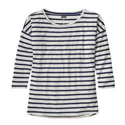 Patagonia Shallow Seas 3/4 Sleeved Top - Womens-Midnight Stripe / Classic Navy