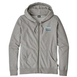 Patagonia Shop Sticker Lightweight Full-Zip Hoody - Womens-Feather Grey w/Viking Blue