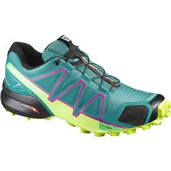 Salomon Speedcross 4 - Deep Peacock Blue / Lime Punch / Grape Juice - Womens-Not Applicable