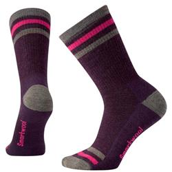 Smartwool Striped Hike Medium Crew Socks - Womens-Bordeaux