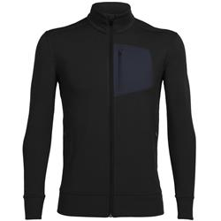 Icebreaker Momentum LS Zip - Mens-Black Heather / Stealth