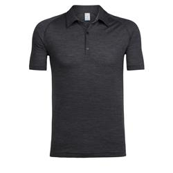 Icebreaker Sphere SS Polo - Mens-Black Heather