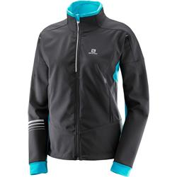 Salomon Lightning Warm Softshell Jacket - Black / Blue Bird - Womens-Not Applicable