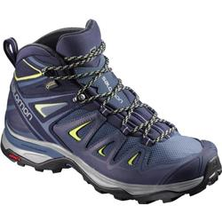 Salomon X Ultra 3 Mid GTX - Crown Blue / Evening Blue / Sunny Lime - Womens-Not Applicable