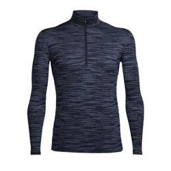 Icebreaker Oasis LS Half Zip - Zig Zag - Mens-Fathom Heather / Midnight Navy