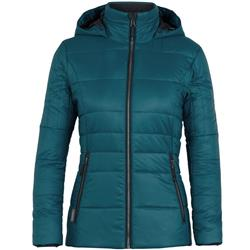 Icebreaker Stratus X Hooded Jacket- Womens-Kingfisher / Jet Heather
