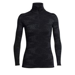 Icebreaker Vertex LS Half Zip Flurry - Womens-Black / Jet Heather