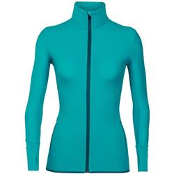 Icebreaker Descender LS Zip- Womens-Arctic Teal / Kingfisher