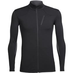 Icebreaker Fluid Zone LS Zip - Mens-Black / Black