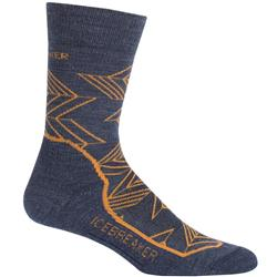 Icebreaker Hike+ Crew Socks - Light Cushion - Intersecting Arrows- Mens-Fathom Heather / Koi / Midnight Navy