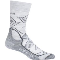 Icebreaker Hike+ Crew Socks - Light Cushion - Intersecting Arrows- Womens-Blizzard Heather / Monsoon / Oil