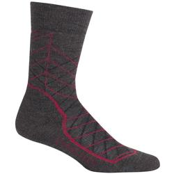 Icebreaker Hike+ Crew Socks - Medium Cushion - Metric - Mens-Earthen Heather / Vintage Red / Black