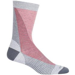 Icebreaker LifeStyle Crew Socks - Fine Gauge Ultralight Cushion - Leaning Ladders - Unisex-Blizzard Heather / Monsoon / Poppy Red