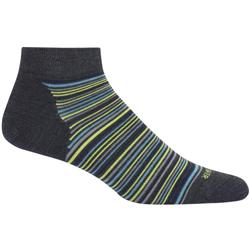 Icebreaker LifeStyle Low Cut Socks - Fine Gauge Ultralight Cushion- Womens-Jet Heather / Fossil - Stripe