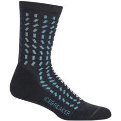 Icebreaker Lifestyle Crew Socks - Light Cushion - Rectangle River- Womens-Jet Heather / Mediterranean / Blizzard Heather