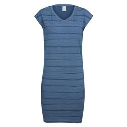 Icebreaker Yanni Tee Dress - Combed Lines - Womens-Prussian Blue / Snow