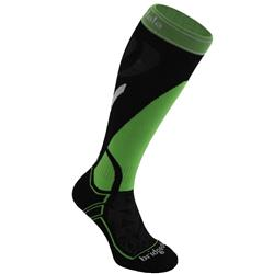 Bridgedale Vertige Mid Merinofusion Ski Socks - Mens-Black / Green