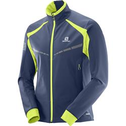 Salomon RS Warm Softshell Jacket - Dress Blue / Acid Lime - Mens-Not Applicable