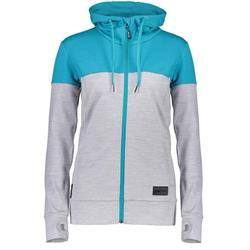 Mons Royale Covert Mid-Hit Hoody - Womens-Aqua / Grey Marl