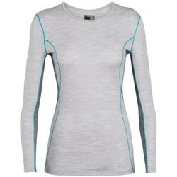 Icebreaker 200 Oasis Deluxe LS Crewe - Womens-Blizzard Heather / Gritstone Heather / Arctic Teal