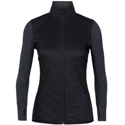 Icebreaker Descender Hybrid Jacket - Womens-Black / Jet Heather