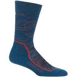 Icebreaker Hike+ Crew Socks - Medium Cushion - Lava- Mens-Prussian Blue / Midnight Navy / Chili Red