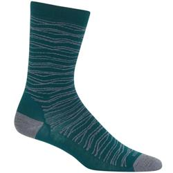 Icebreaker LifeStyle Crew Socks - Fine Gauge - Zigzag Strata - Unisex-Dark Pine / Twister Heather