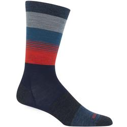 Icebreaker Lifestyle Crew Socks - Ultralight Cushion - Gradient Stripe- Mens-Fathom Heather / Prussian Blue / Chili Red