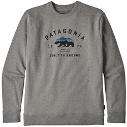 Patagonia Arched Fitz Roy Bear Uprisal Crew Sweatshirt - Mens-Gravel Heather