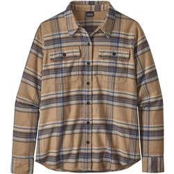 Patagonia Fjord Flannel LS Shirt - Womens-Cabin Time / Bearfoot Tan